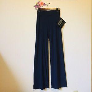 IMAN Global Chic Navy Blue Palazzo Pants XS Long